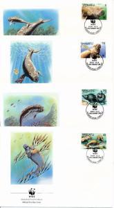[53934] Vanuatu 1988 Marine life WWF Dugong  FDC 4 covers