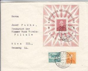 1934, Budapest, Hungary to Wein, Austria, Souvenir Sheet (24406)