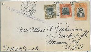 POSTAL HISTORY : EL SALVADOR - COVER to USA 1914 VIA ZACAPA Y PUERTO BARRIOS
