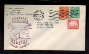 1936 New York City USA Hindenburg Zeppelin First FLight cover to Medway MA LZ129