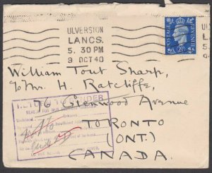 GB TO CANADA 1940 cover to Toronto returned to sender.......................T267