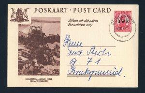 SOUTH WEST AFRICA 1951 Postcard OTJIWARONGO to SWAKOPMUND