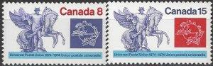 Canada  574-5  MNH  UPU 100th Anniversary 1974