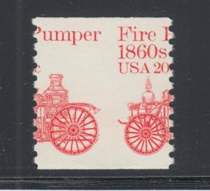 US Sc 1908 MNH. 1981-1984 20c Fire Pumper coil,  Misperf error