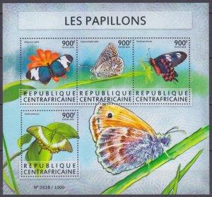 2015 Central African Republic 5640-5643KL Butterflies / Flowers 16,00 €