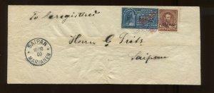 Guam Scott E1a & 4 Overprint Used Stamps on Nice Cover to Saipan Mariana Islands