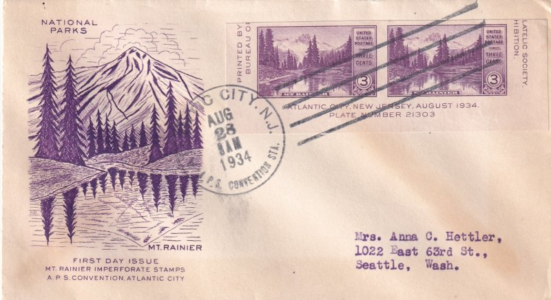 1934, Mt. Rainier Grimsland Cachet, FDC (E11725)