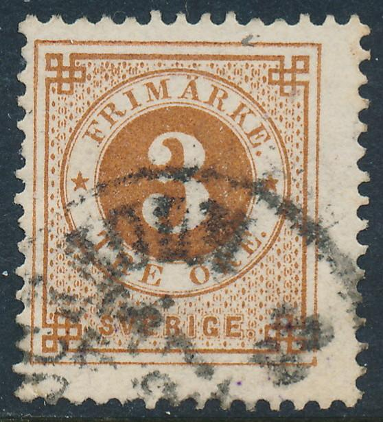 Sweden Scott 41 (Fa 41), 3ö brown Ringtyp Posthorn, F Used