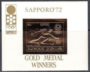 Ajman, Mi cat. 653, BL256. Sapporo Olympics, Skier Gold Foil s/sheet. ^
