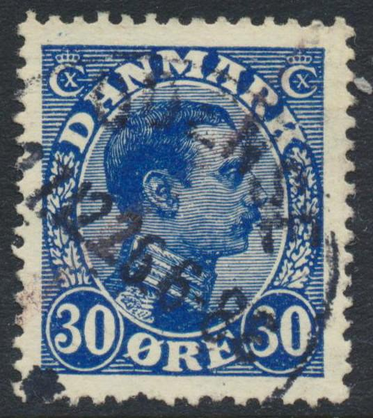 Denmark Scott 113 (AFA 149), 30ø blue Christian X, VF Used