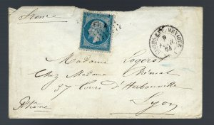 French #26 on cover from Mexico/CEMA CDS/backstamp 1868/Auction sale $221..RARE!