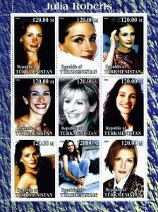 Turkmenistan 2000 Julia Roberts American Actress Sheet (9) Perforated mnh.vf