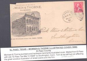 El Paso County El Paso ( Postal History ), 1898, Short At Left