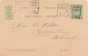 Luxembourg 5c Grand Duke Adolphe Postal Card 1898 Echternach-Ettelbruck F.C. ...