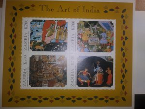 ZAMBIA EXCEPTIONAL BEAUTIFUL STAMPS OF INDIA SHEET OF 4
