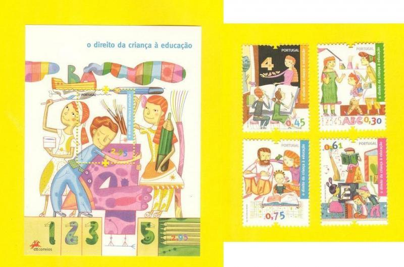 SOUVENIR SHEET 4stamp cover PORTUGAL CHILDREN´S RIGHT TO EDUCATION 2008 Literacy
