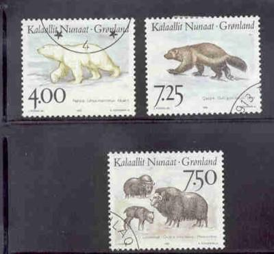 Greenland Sc 296-8 1995 Native Animals stamp set used