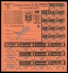 3rd Reich Germany 1944 Munich Bread Ration Card for Jewish Person 96254