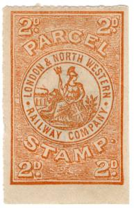 (I.B) London & North Western Railway : Parcel Stamp 2d (with back overprint)