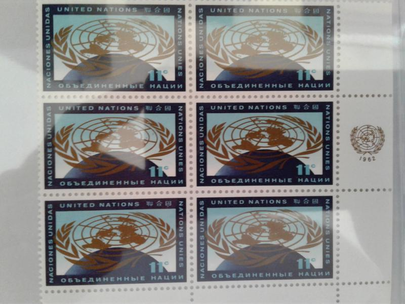 CLOSE OUT-- UNITED NATIONS SCOTT # 107 PLATE BLOCK OF 6 MNH FIRST ISSUE 1962 GEM