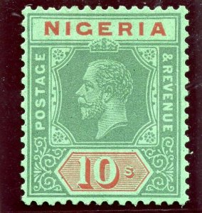 Nigeria 1932 KGV 10s green & red/green (Die I) MLH. SG 29a. Sc 32a.
