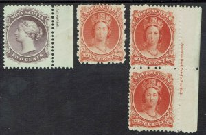 NOVA SCOTIA 1860 QV 2C AND 10C IMPRINT PAIR AND SHADE ON WHITE PAPER