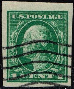 US STAMP #408 1912 1c Washington SL Wmrk imperf USED STAMP