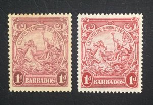 MOMEN: BARBADOS SG #249,249a P13.5*13,P14 1938-1939 MINT OG H £300 LOT #60665