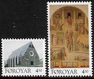 Faroe Is #310-1 MNH Set - Church - Christmas
