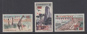 Cameroun Sc C38-C40 MLH. 1961 red surcharges, complete set, VLH.