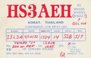 7174 Amateur Radio QSL Card  KORAT THAILAND
