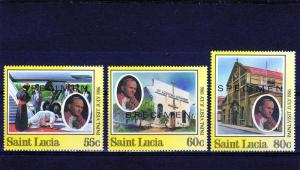 St.Lucia 86 Pope John-Paul II Visit set (3) mnh Specimen