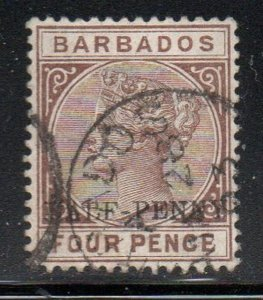 Barbados Sc 69 1892 1/2d overprint on 4 d brown Victoria stamp used