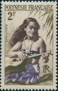 French Polynesia 1958 Sc#185,SG4 2f Girl playing Guitar MNH