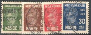 NORWAY 1929 Scott 145-48 cmplt used set scv $7.00 less 80%=$1.40