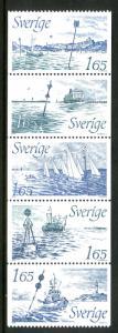 SWEDEN 1410-14  MNH STRIP/5 SCV $5.00 BIN $3.00