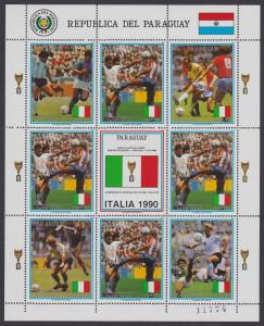 Paraguay World Cup Football Championship Italy Sheetlet SC#2310