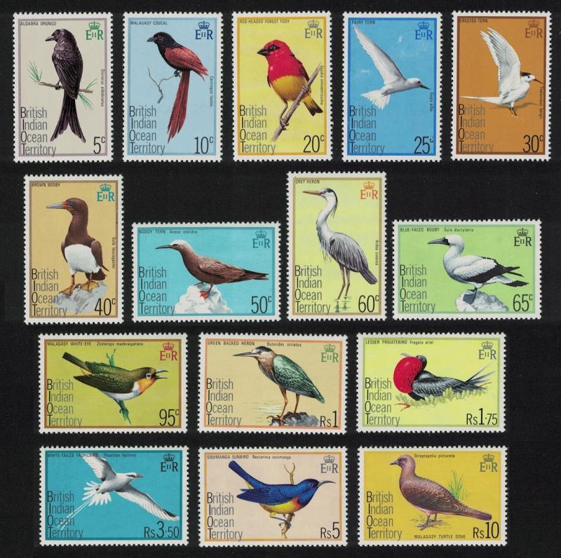 BIOT Birds 15v 1975 MNH SG#62-76 CV£27.-
