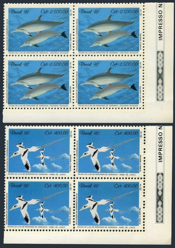 Brazil 2352-2353 blocks/4,MNH.Mi 2455-2456. UNCED 1992.Tropic-birds,Dolphins