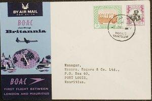 Mauritius BOAC 1962 Sudan To Port Louis Cover