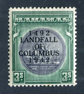 Bahamas 1942. Columbus. 3s slate purple & myrtle green. Mint. LH. SG173.