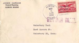 United States Maine Albion 1950 4f-bar  6c Alexandria Bicentennial Airmail  C...