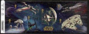 Great Britain 2015 Star Wars self adhesive m/sheet contai...