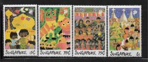 SINGAPORE,552-555, MNH,CHILDREN DRAWINGS