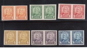 Canada #149a - #154a Very Fine Never Hinged Imperf Pairs