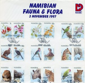 NAMIBIA  1997 FAUNA AND FLORA SET ON FIRST DAY CANCELLED CARD
