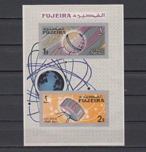 Fujeira, Mi cat. 78-79, BL4 B. Space Research, IMPERF s/sheet.