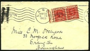 NIGERIA 1923 cover with Lagos continuous machine cancel to UK..............98386
