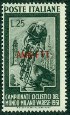 Trieste #128  Mint  F-VF NH  Scott $14.50  Bicycle Champi...