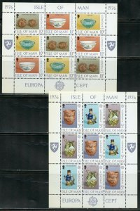 ISLE OF MAN 1976 EUROPA LOT OF 15 SETS OF SHEETS MINT NH